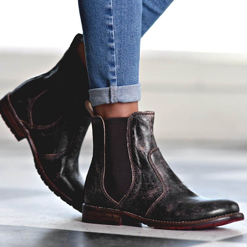 Women's Vintage Low Heel Ankle Booties Slip-on Short Chelsea Boots