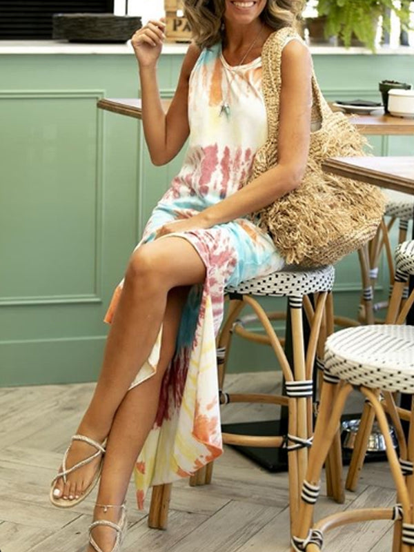 Multicolor Printed Sleeveless Slit Dresses