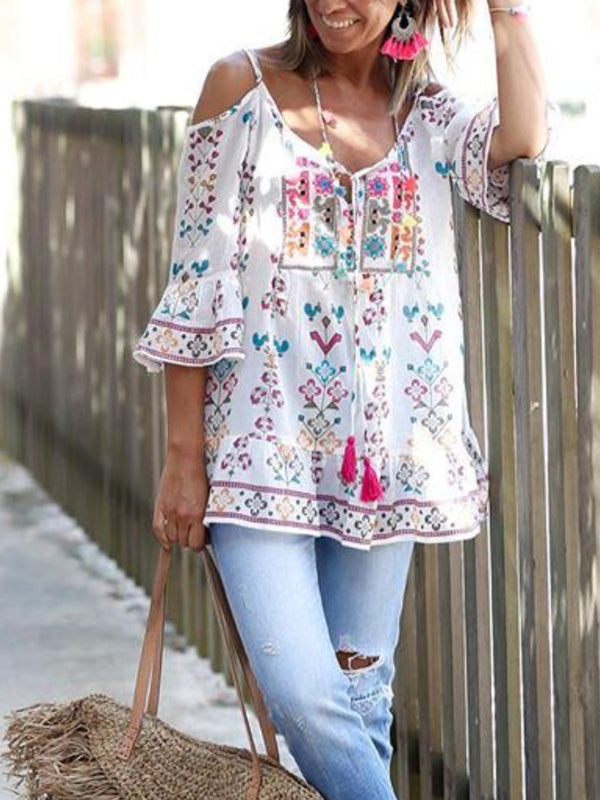 Bohemian Floral Casual Holiday Tops