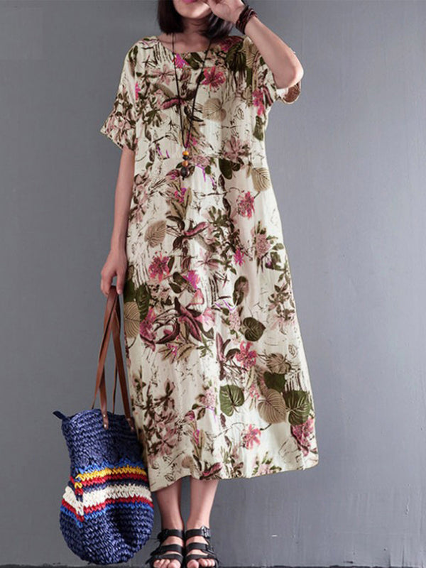 Half Sleeve Cotton-Blend Printed Dresses