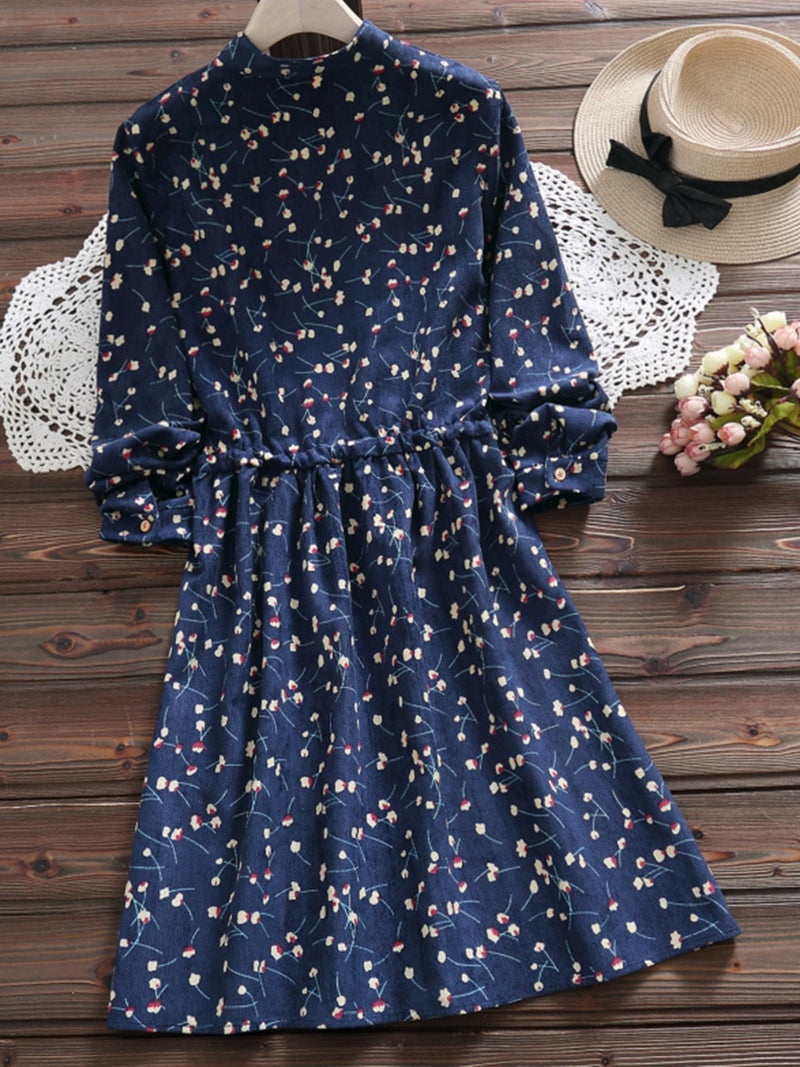 Floral Long Sleeve Buttoned Sweet Cotton Dress