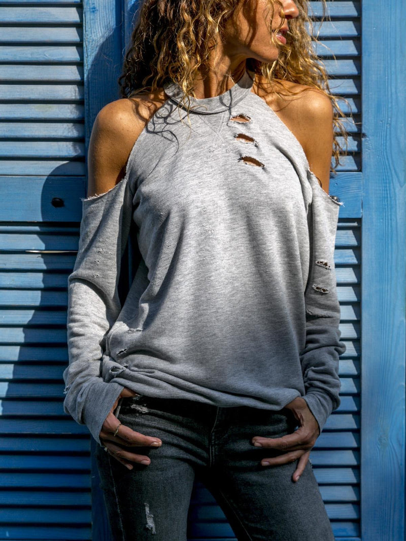 Grey Long Sleeve Round Neck Tops