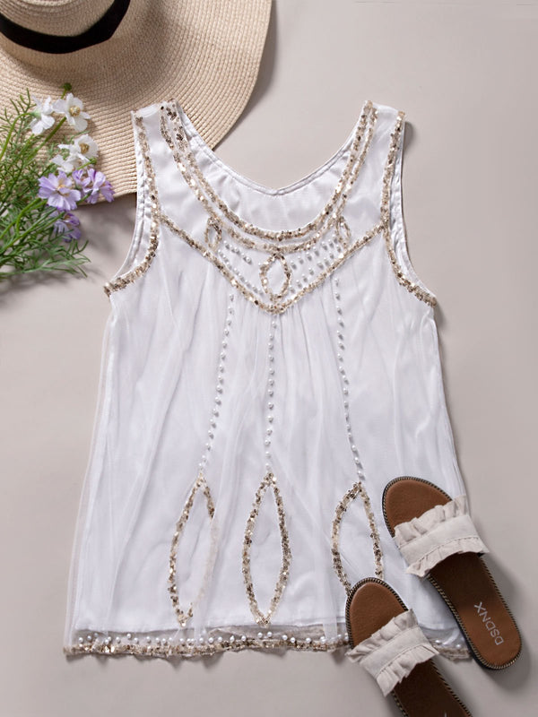 Casual Round Neck Sleeveless Shirts