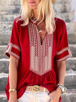 Bohemian V-neck plus size top