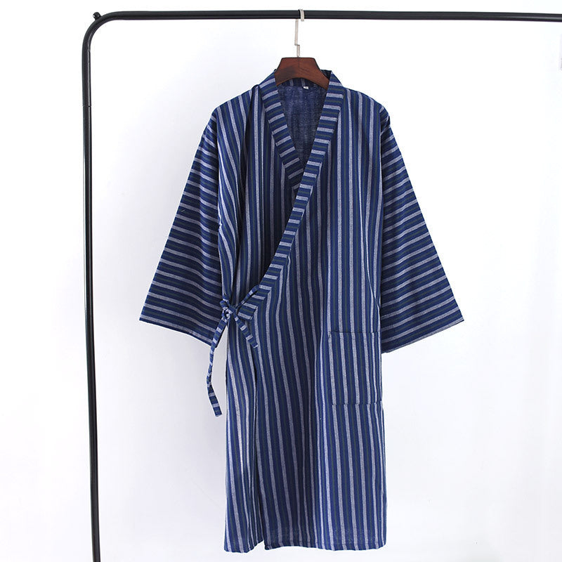 Men's Cardigan Tunic Breathable Cotton Gauze Vertical Stripe Nightgown