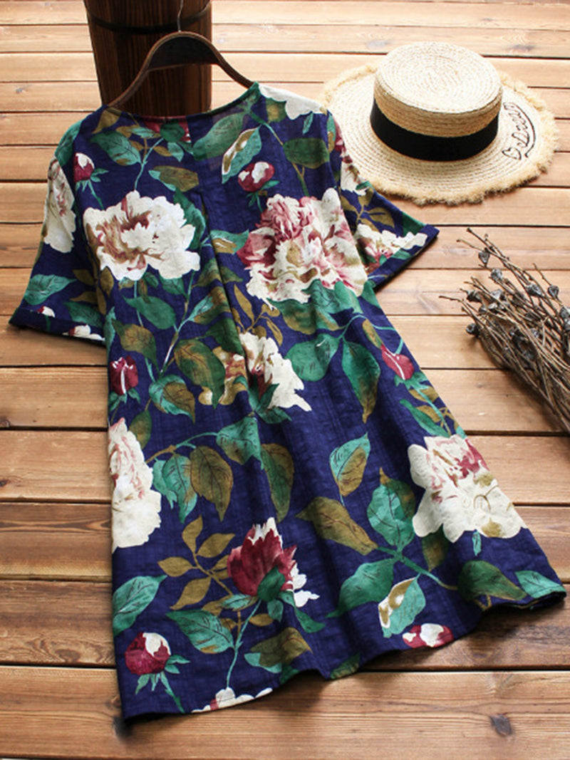 Cotton Floral Casual Short Sleeve Tops