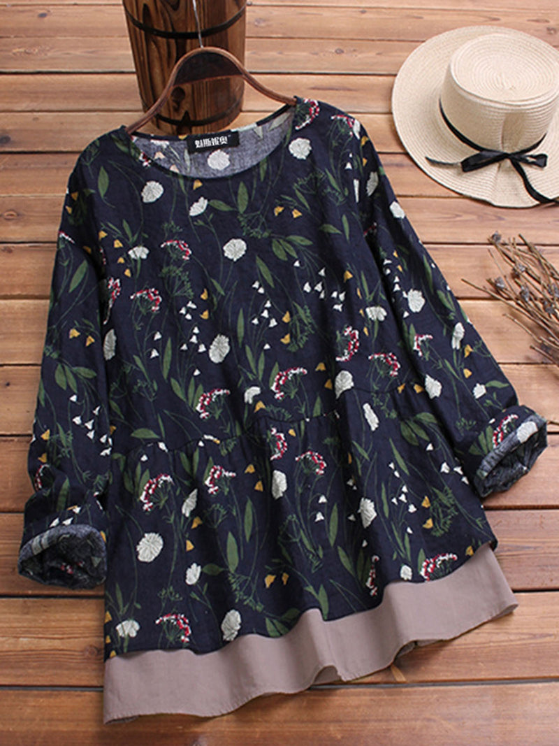 Long Sleeve Crew Neck Floral Casual Tops & Tees