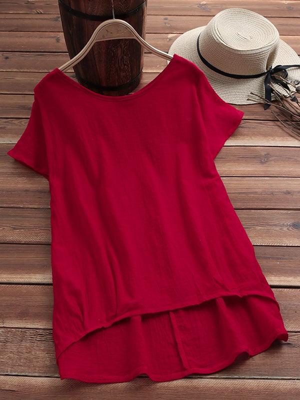 Round Neck Paneled Cotton-Blend Short Sleeve Tops