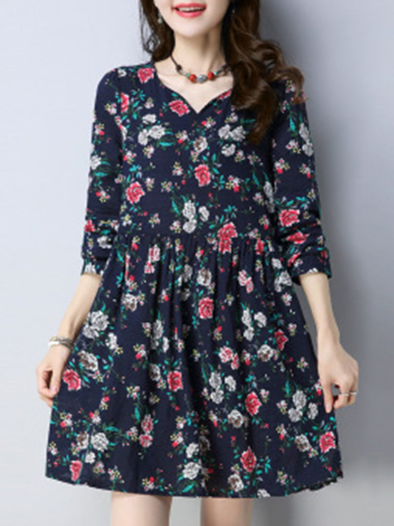 V Neck Daily Work Cotton Floral-Print Dress
