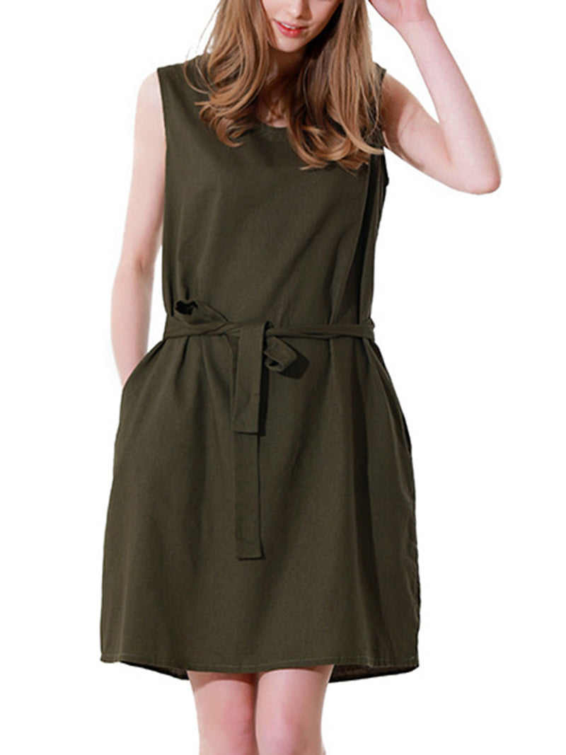 Army Green Sleeveless Solid Dress With Belt