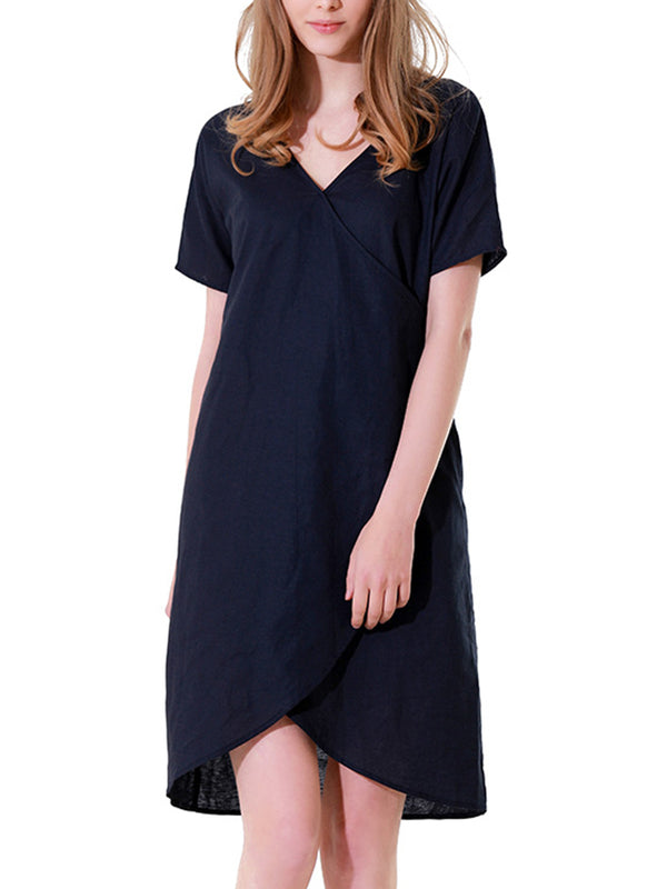Short Sleeve Asymmetric Solid V Neck Dress