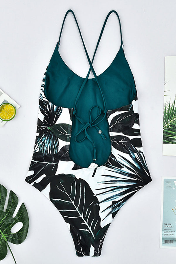 Leaf Print Lace-up Backless One-piece Swimsuit