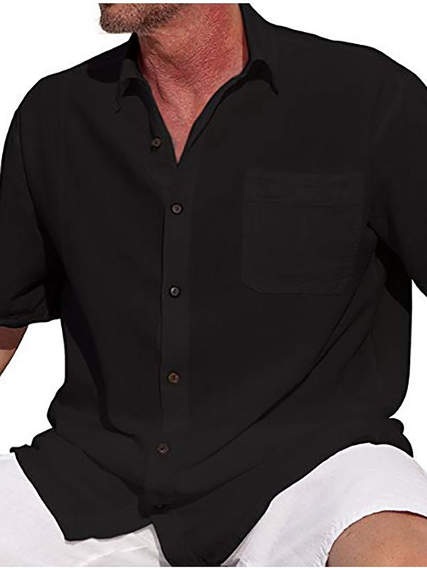 Solid Shirt Collar Shirts Plus Size Blouses