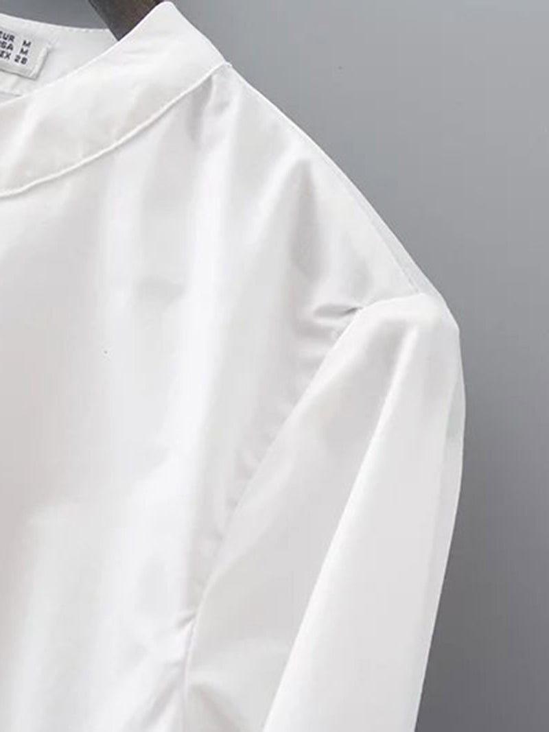 White Plain Bell Sleeve Cotton Stand Collar Dresses