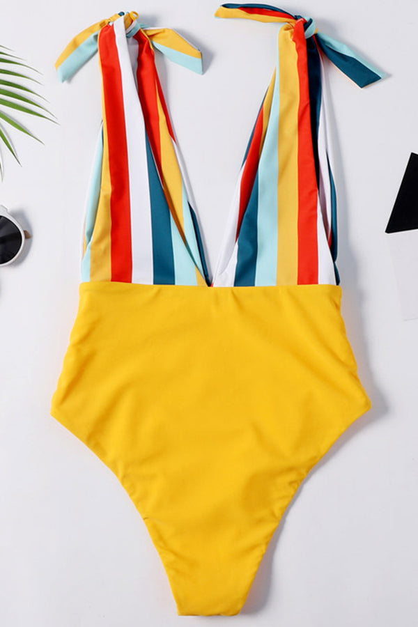 Stripe Bind Printed Bowknot One-piece Swimsuit