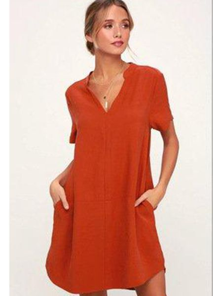 Women Casual Linen Solid V Neck Dresses