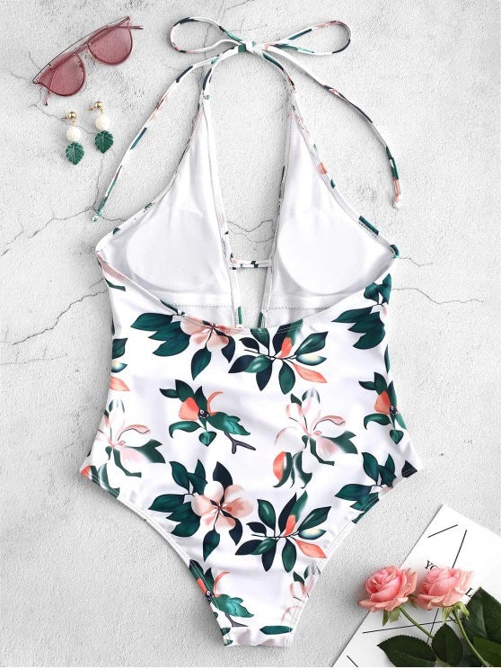 Printed backless Lace-up One-piece Swimsuit