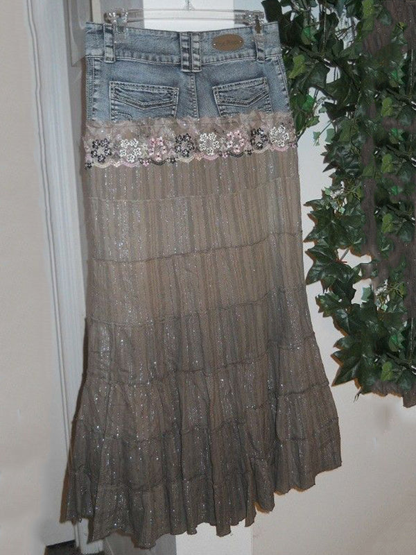 Woman retro Rensissance bohemian ballroom lace denim stitching skirt