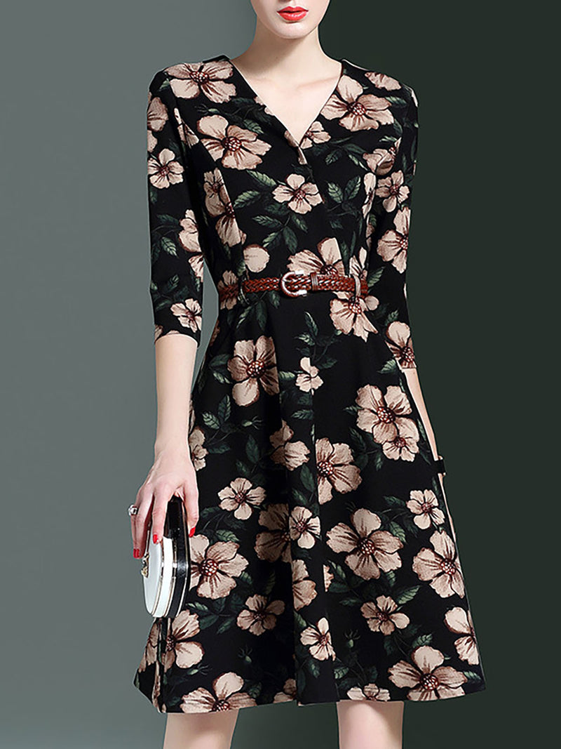 V neck  A-line Half Sleeve Floral-print Prom Dress