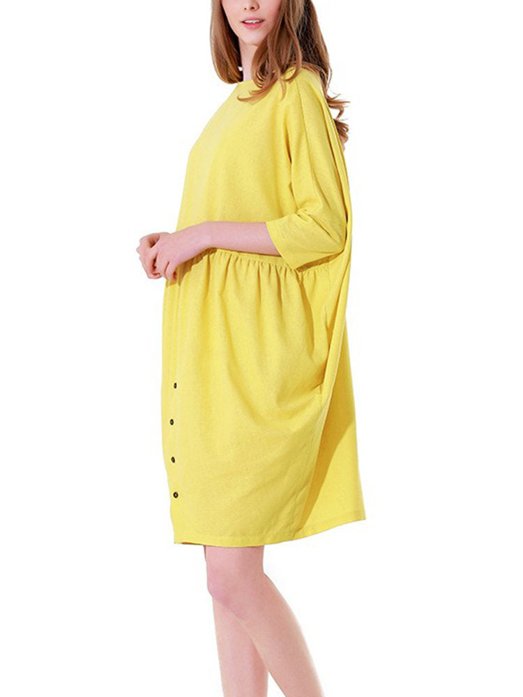 Yellow Solid Casual Buttoned Dress