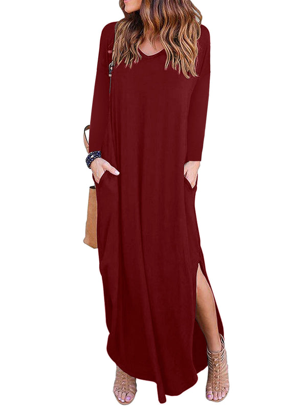 Women Simple & Basic Long Sleeve Slit Dress