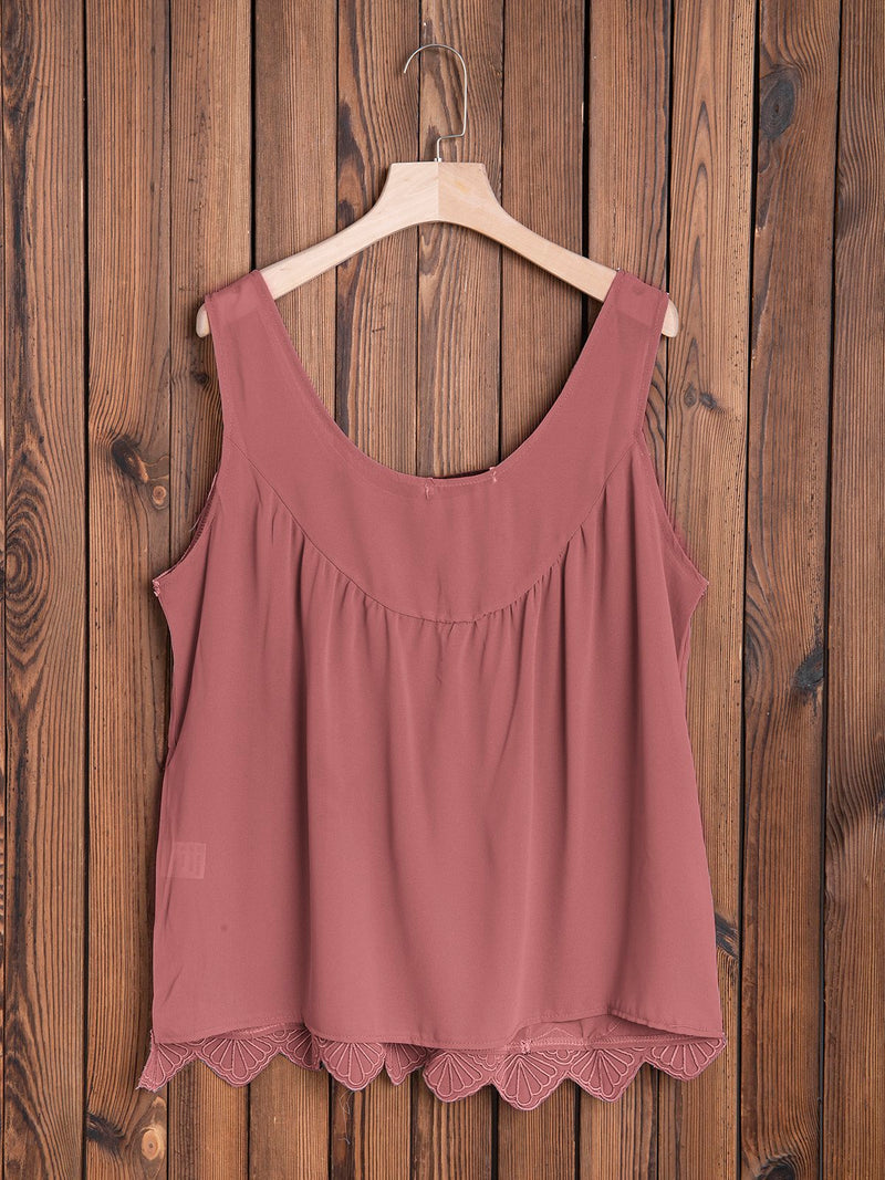 Wide Round Neck Sleeveless Mesh Casual Top
