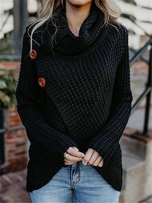 Casual Knitted Solid Long Sleeve Turtle Neck Sweater