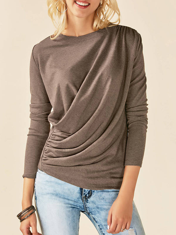 Folds Crew Neck Solid Long Sleeve Casual T-Shirt
