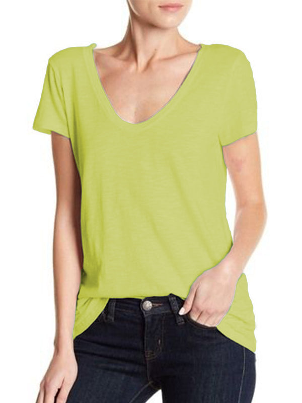 Women Summer Casual Loose V neck T Shirt
