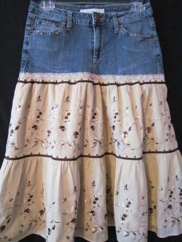 Woman retro Rensissance bohemian ballroom Embroidery denim stitching skirt