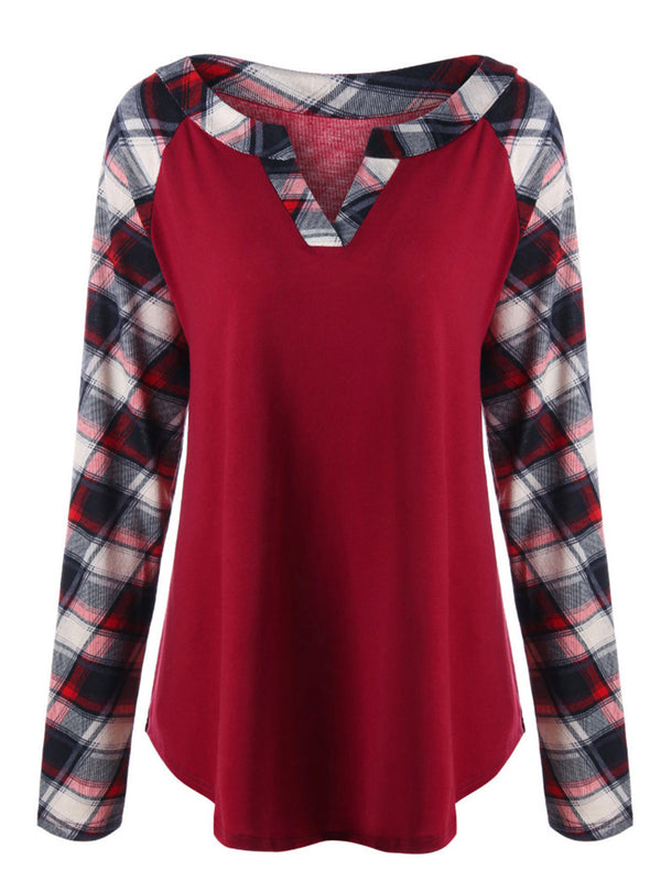 Allamela Plaid Raglan Long Sleeve Casual T-Shirts Tops