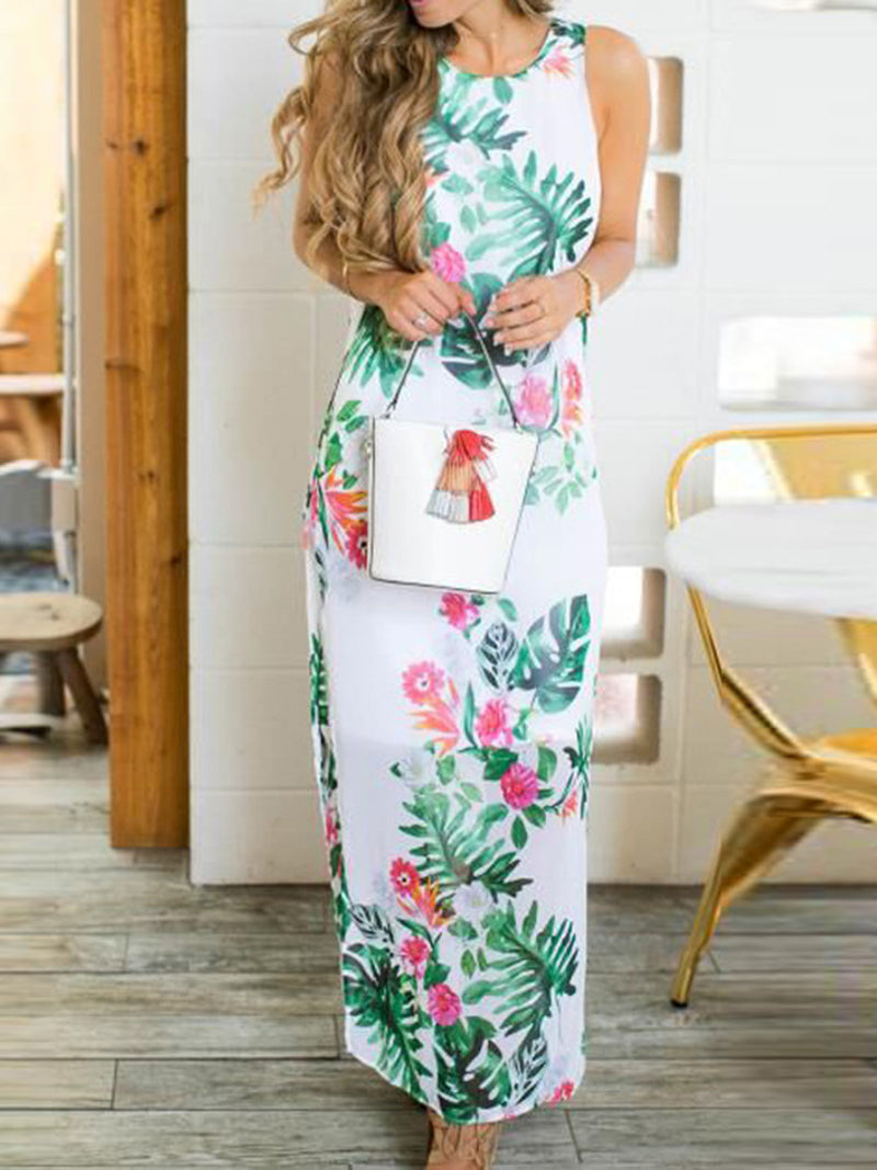 Green Side Slit Floral Dresses