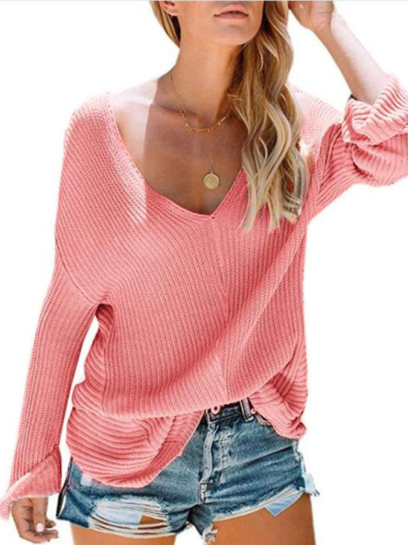 Sexy V Neck Knit Wear Sweaters Tops