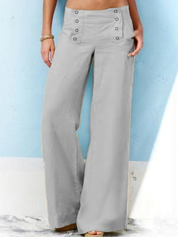 Buttoned Casual Solid Pants