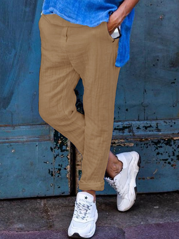 Solid Casual Cotton-Blend Pockets Pants