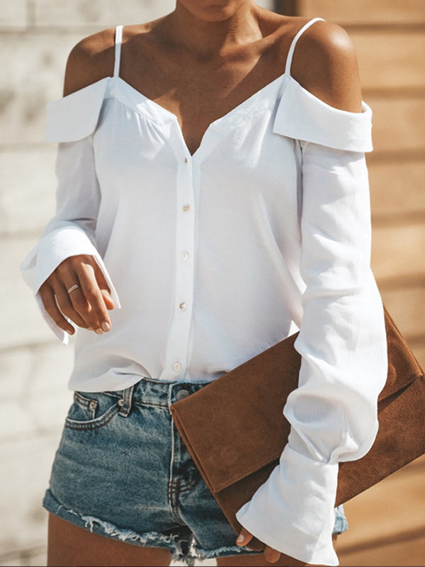 Basic Cold Shoulder Buttoned Long Sleeve Solid Blouse