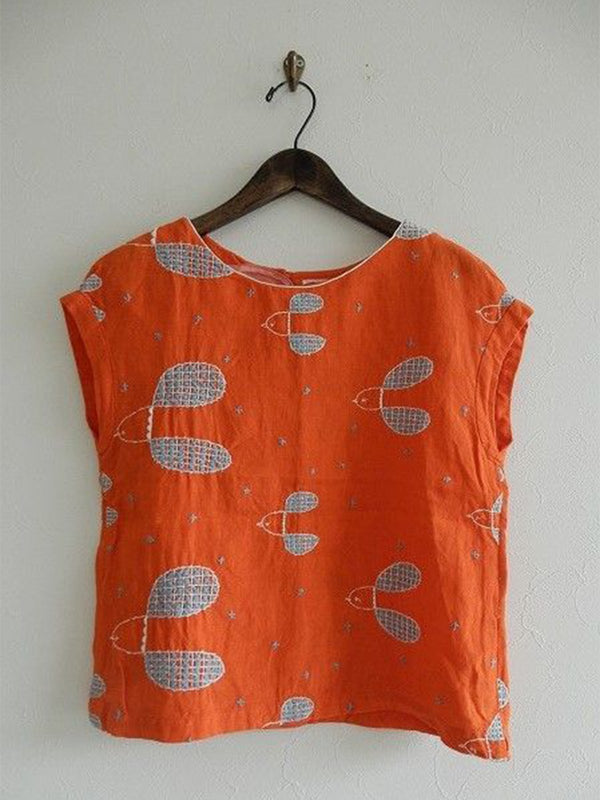 Printed Casual Sleeveless Round Neck Shirts