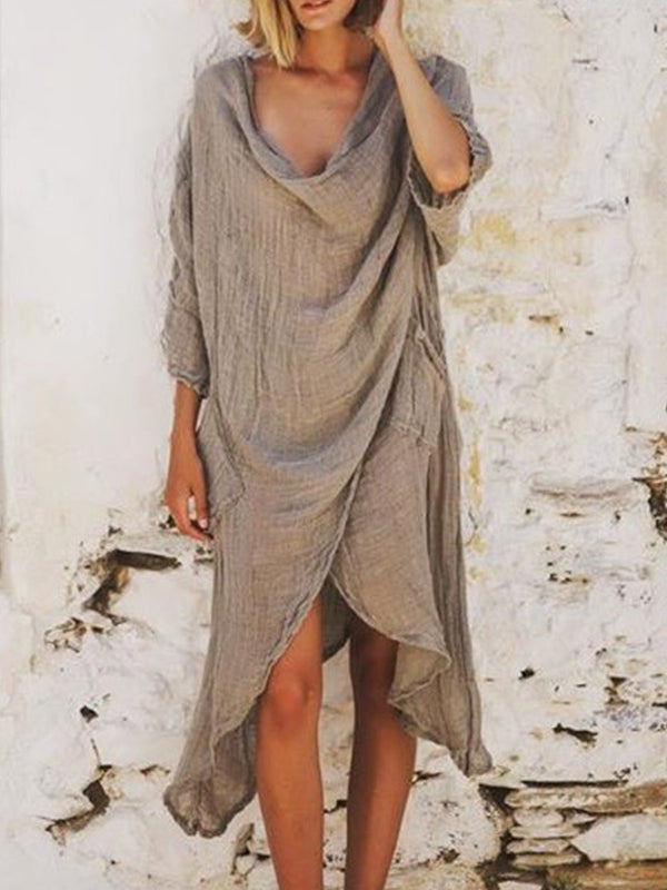 Bohemian casual large size cotton dress