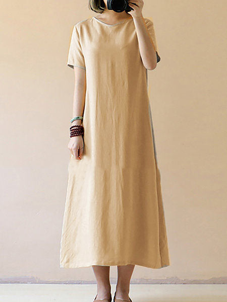 Shift Linen Short Sleeve Casual  Solid Dress