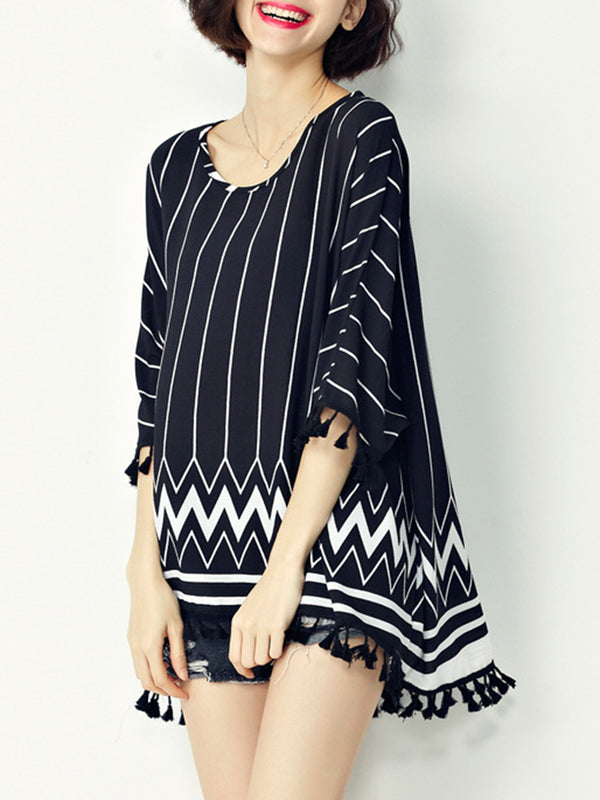 Casual Printed Stripes Batwing Crew Neck T-Shirt