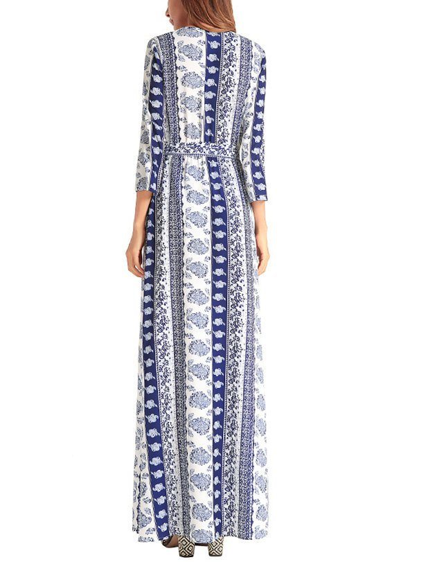 Elegant V neck Printed Slit Boho A-line Maxi Dress