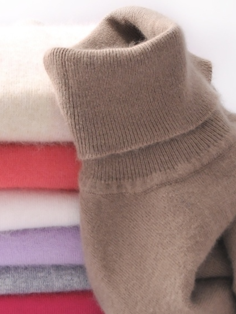 Casual Knitted Solid Turtleneck Plus Size Sweaters