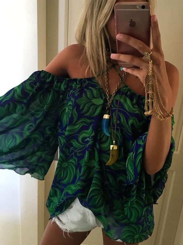 Boho Printed Off Shoulder Casual Blouse Tops Tunic