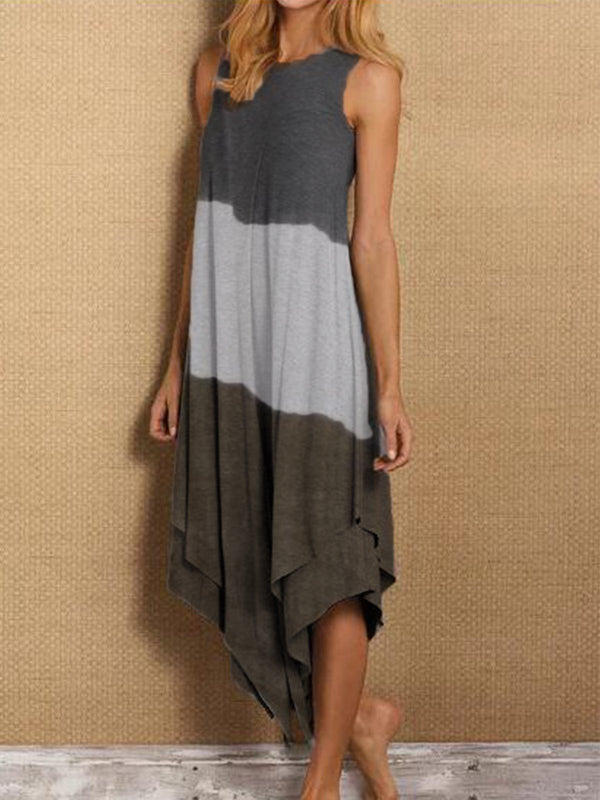 Gray Sleeveless Asymmetrical Dresses