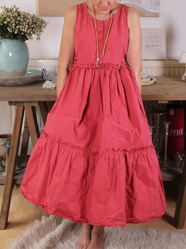 Casual Sleeveless Round Neck Plus Size Dress