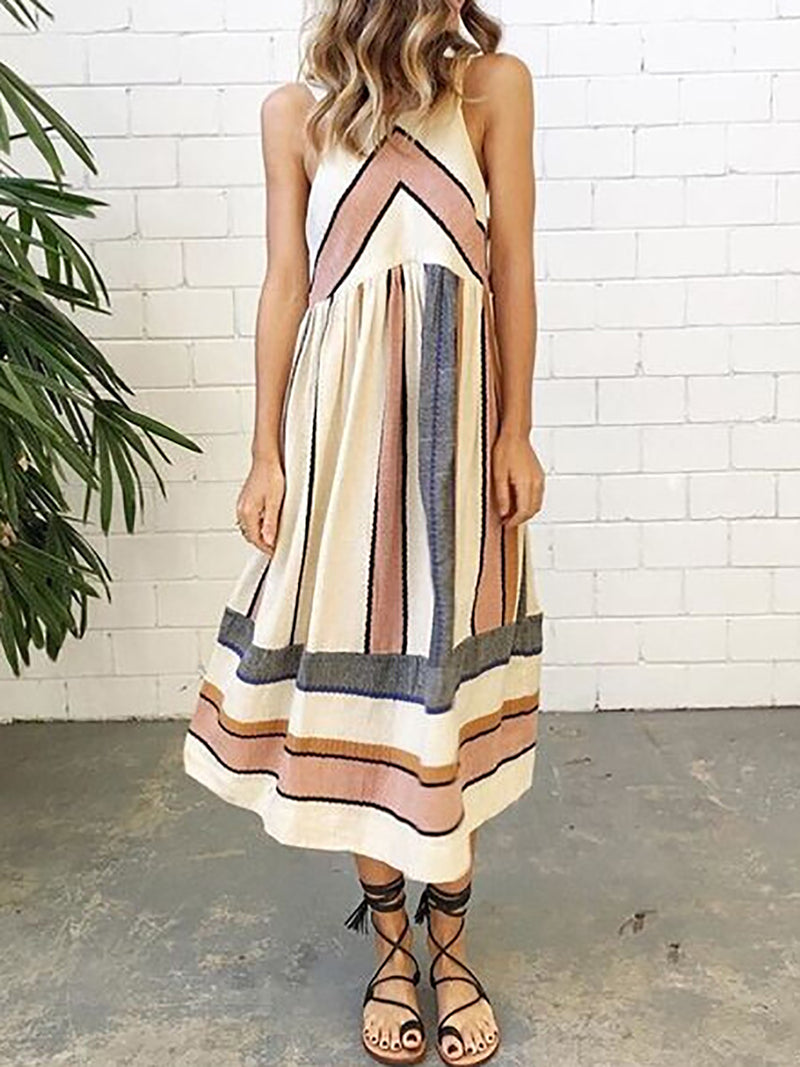 Apricot Stripe Striped Cotton Floral Boho Printed Women Dress