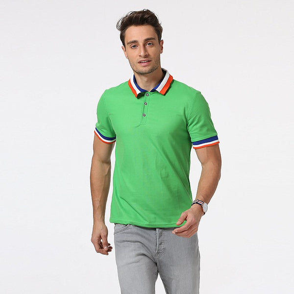 10 Colors Casual POLO Shirts Wild Color-block Screw Stitching Collar Men's Short-sleeved Tops