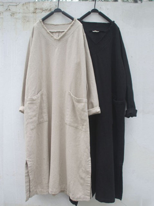 Women Long Sleeve Plain Dresses