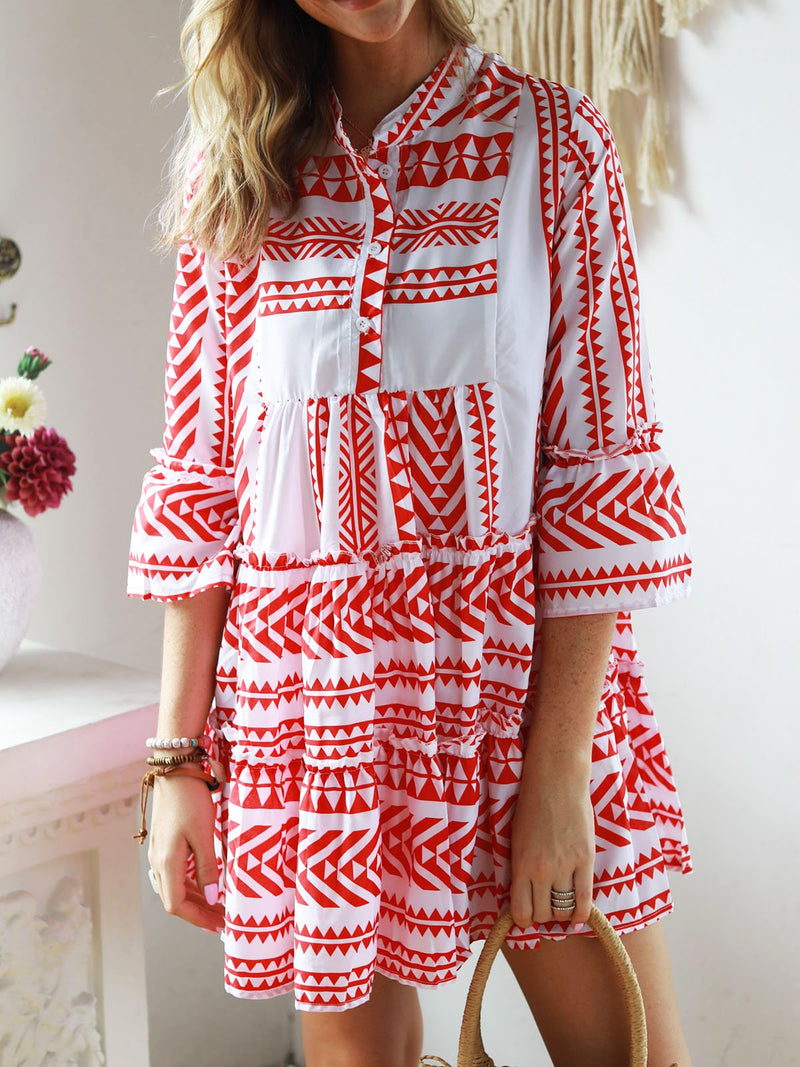 V neck Women Summer Dress Swing Bell Sleeve Tribal Mini Dress