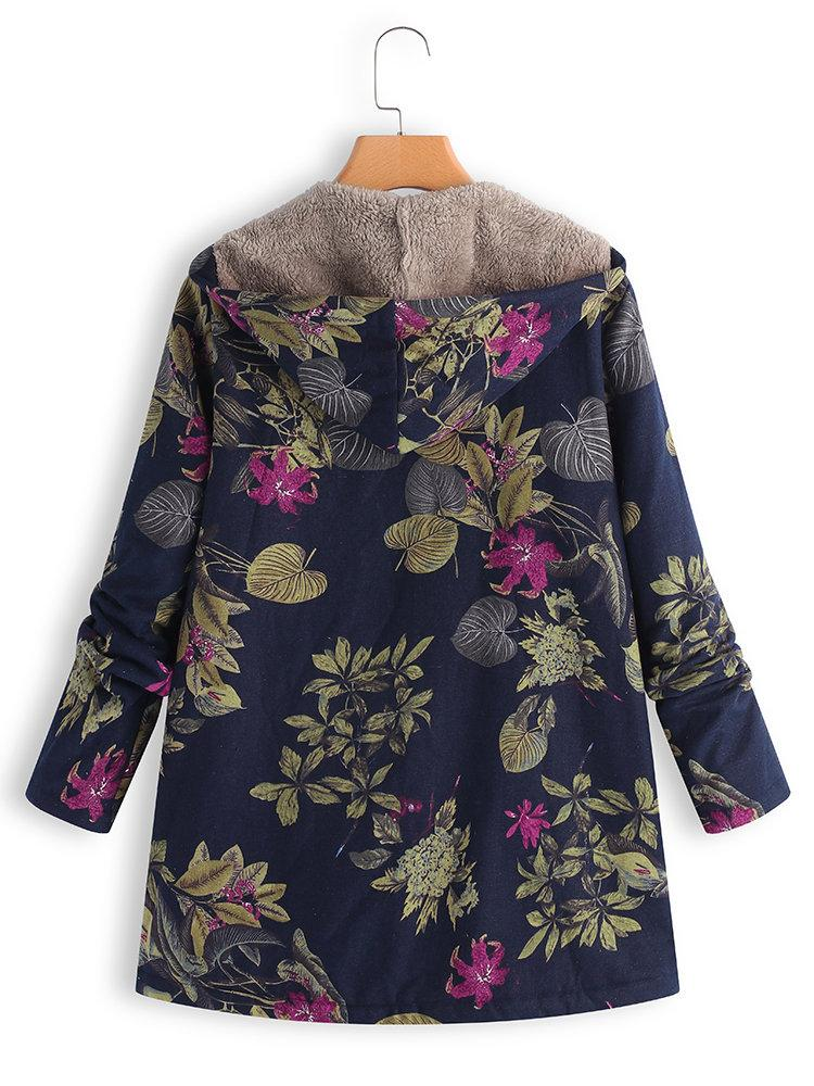 『Clearance Sale』Women Hoodie Pockets Floral Casual Plus Size Coats